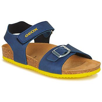 Shoes Boy Sandals Geox J GHITA BOY Blue / Yellow