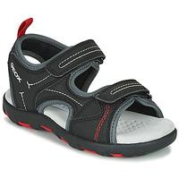 Shoes Boy Sports sandals Geox JR SANDAL PIANETA Black / Red