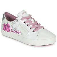 Shoes Girl Low top trainers Geox J GISLI GIRL White / Pink / Silver
