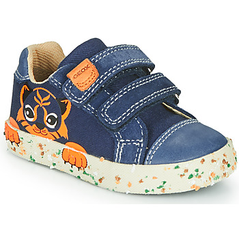 Shoes Boy Low top trainers Geox B KILWI BOY Marine / Brown