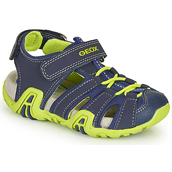 Shoes Boy Sports sandals Geox B SANDAL KRAZE Marine / Green