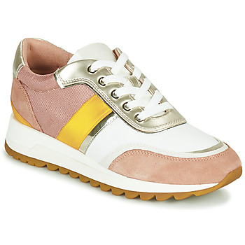 Shoes Women Low top trainers Geox D TABELYA Pink / White / Yellow