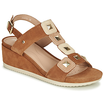 Shoes Women Sandals Geox D ISCHIA Cognac / Nude