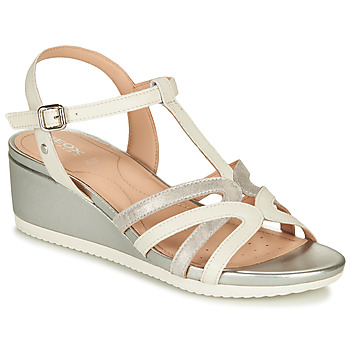 Shoes Women Sandals Geox D ISCHIA White / Silver
