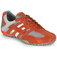 Shoes Men Low top trainers Geox UOMO SNAKE Red / Grey