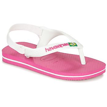 Shoes Girl Flip flops Havaianas BABY BRASIL LOGO II Pink / White