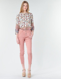 material Women straight jeans Cream CALINA Pink