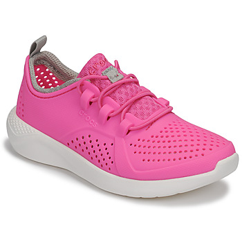 Shoes Girl Low top trainers Crocs LITERIDE PACER K Pink / White