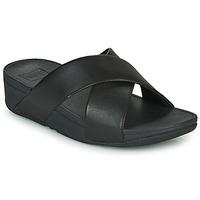 Shoes Women Mules FitFlop LULU CROSS SLIDE SANDALS - LEATHER Black