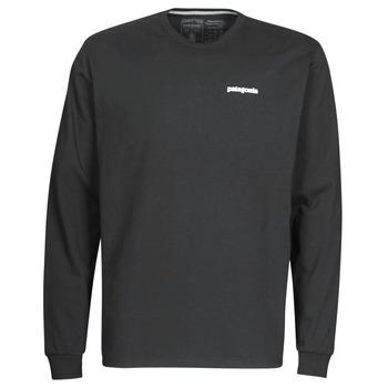 material Men Long sleeved shirts Patagonia M's L/S P-6 Logo Responsibili-Tee Black