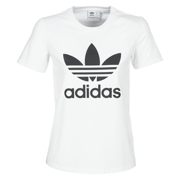 material Women short-sleeved t-shirts adidas Originals TREFOIL TEE White