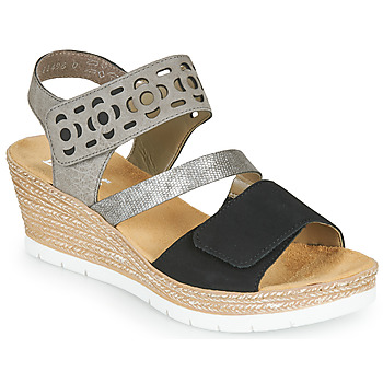Shoes Women Sandals Rieker MILANN Black / Grey