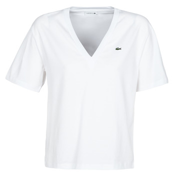 material Women short-sleeved t-shirts Lacoste CONSTANTIN White