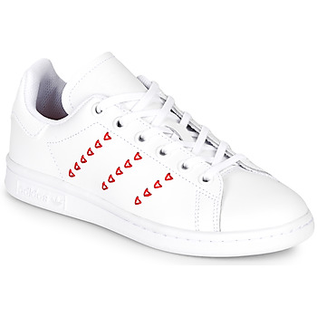 Shoes Girl Low top trainers adidas Originals STAN SMITH J White / Red