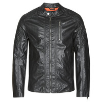 material Men Leather jackets / Imitation le Guess QUILTED ECO LEATHER JACKET Black