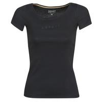 material Women short-sleeved t-shirts Esprit T-SHIRTS LOGO Black