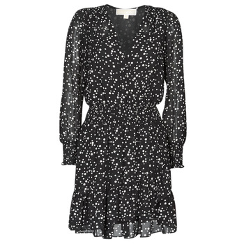 material Women Short Dresses MICHAEL Michael Kors RUFFLE WRAP DRS Black / White