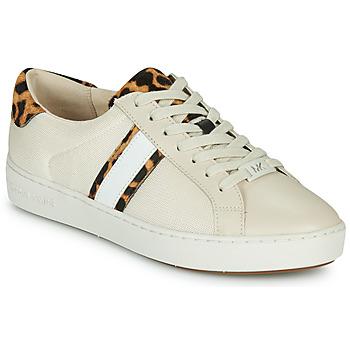 Shoes Women Low top trainers MICHAEL Michael Kors IRVING STRIPE LACE UP Ecru / Leopard