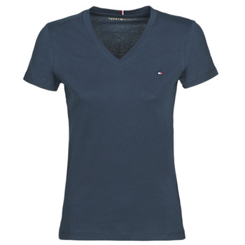 material Women short-sleeved t-shirts Tommy Hilfiger HERITAGE V-NECK TEE Marine