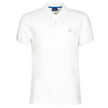 material Men short-sleeved polo shirts Gant GANT CONTRAST COLLAR PIQUE POLO White / Blue