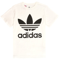 material Children short-sleeved t-shirts adidas Originals TREFOIL TEE White