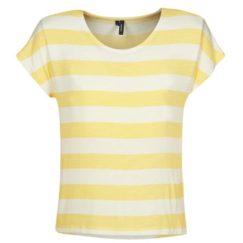 material Women short-sleeved t-shirts Vero Moda  Yellow / White
