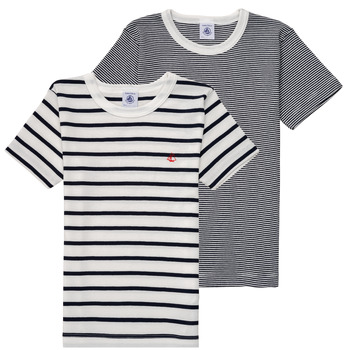 material Boy short-sleeved t-shirts Petit Bateau 53333 White / Blue