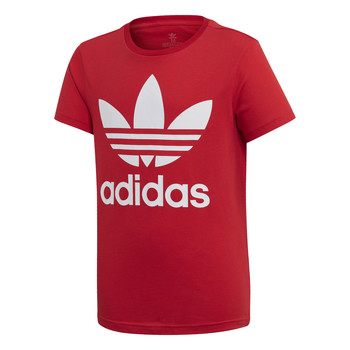 material Children short-sleeved t-shirts adidas Originals TREFOIL TEE Red