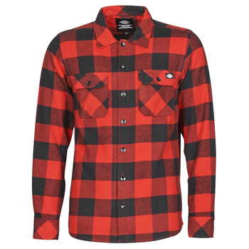 material Men long-sleeved shirts Dickies SACRAMENTO Red / Black