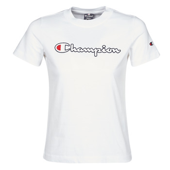 material Women short-sleeved t-shirts Champion ATHLETIC JERSEY COMBED White