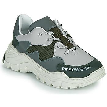 Shoes Children Low top trainers Emporio Armani XYX008-XOI34 Green / Grey