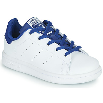 Shoes Boy Low top trainers adidas Originals STAN SMITH C White / Blue