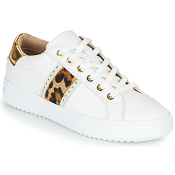 Shoes Women Low top trainers Geox PONTOISE White / Leopard