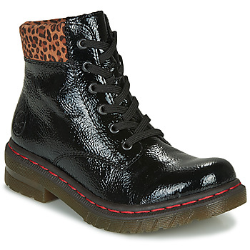 Shoes Women Mid boots Rieker 76212-00 Black / Leopard
