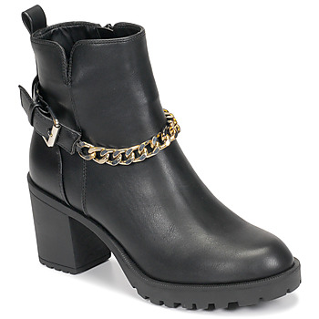 Shoes Women Ankle boots Only BARBARA-9 PU HEELED CHAIN BOOT Black