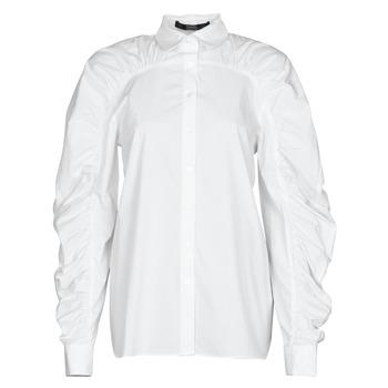 material Women Shirts Karl Lagerfeld POPLIN BLOUSE W/ GATHERING White