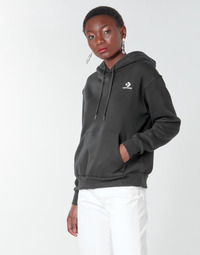 material Women sweaters Converse CONVERSE WOMENS FOUNDATION PULLOVER HOODIE Black