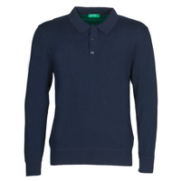 material Men long-sleeved polo shirts Benetton 1150K3076 Marine