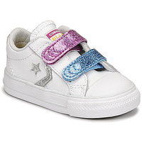 Shoes Girl Low top trainers Converse STAR PLAYER 2V GLITTER TEXTILE OX White / Blue / Pink