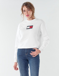 material Women sweaters Tommy Jeans TJW TOMMY FLAG CREW White