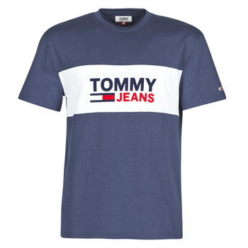 material Men short-sleeved t-shirts Tommy Jeans TJM PIECED BAND LOGO TEE Marine