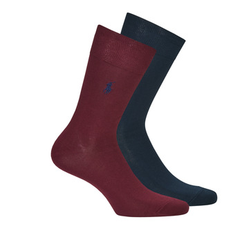 Accessorie Men Socks Polo Ralph Lauren ASX70 2 PACK MERCERIZED COTTON Marine / Bordeaux