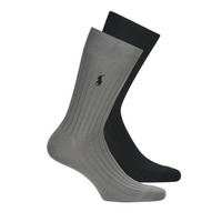 Accessorie Men Socks Polo Ralph Lauren ASX71 2 PACK EGYPTIAN COTTON Black / Grey