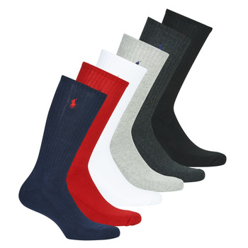 Accessorie Men Socks Polo Ralph Lauren ASX110 6 PACK COTTON Black / Red / Marine / Grey / Grey / White