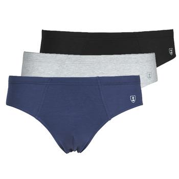 Underwear Men Underpants / Brief Mariner PACK COTON BIO X3 Black / Marine / Grey