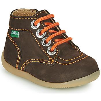 Shoes Boy Mid boots Kickers BONZIP-2 Brown / Orange