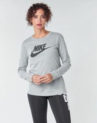 material Women Long sleeved shirts Nike W NSW TEE ESSNTL LS ICON FTR Grey