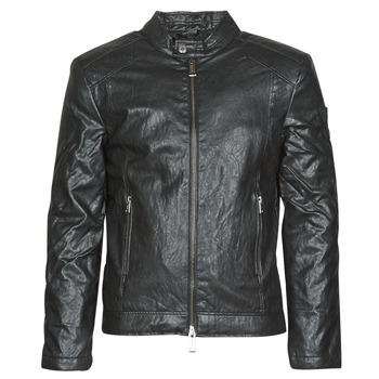 material Men Leather jackets / Imitation le Guess PU LEATHER BIKER Black