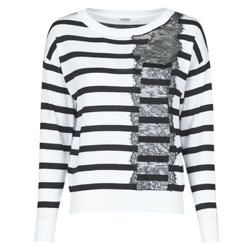 material Women jumpers Guess MARIA RN LS SWTR White / Black