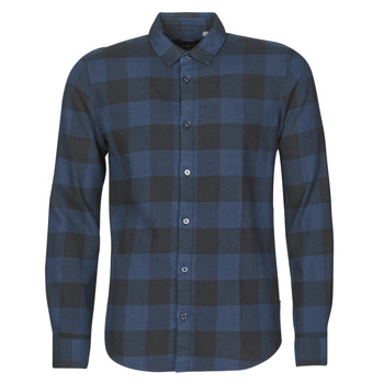 material Men long-sleeved shirts Only & Sons ONSGUDMUND Marine / Black